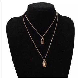 Two Layers of Gold Shell Pendant